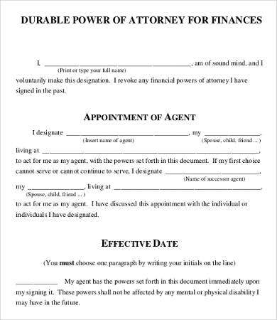 financial power of attorney form printable