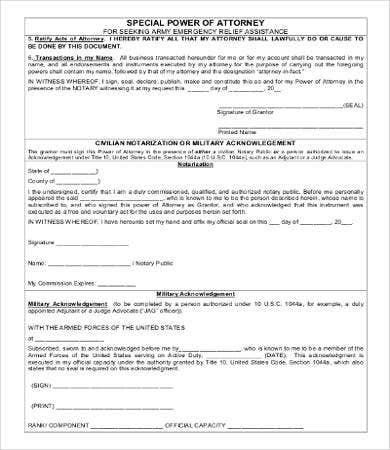 power of attorney form army  Power Of Attorney Form Free Printable - 17+ Free Word, PDF ...