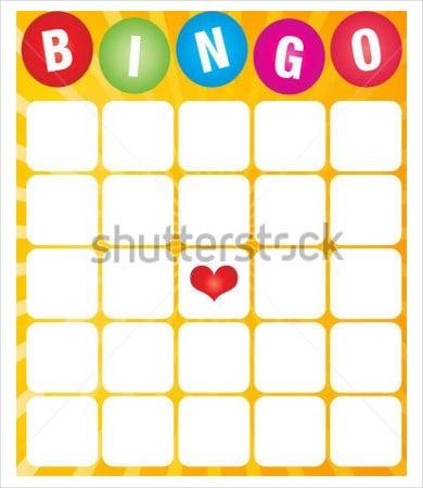 bingo game card template