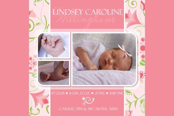 9 Birth Announcement Templates Printable PSD AI Format – Baby Announcement Template Free