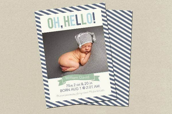 Boy Birth Announcement Template