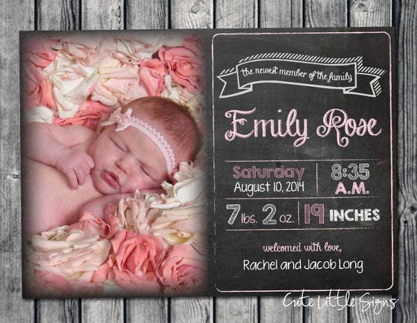 chalkboard birth announcement template - Free Baby Announcement Templates