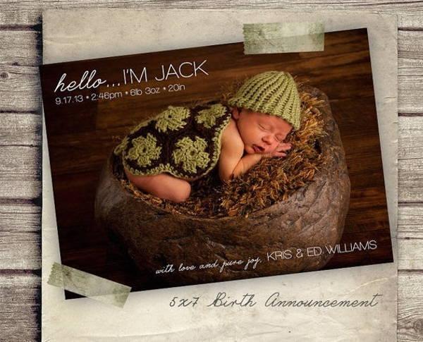 9 Birth Announcement Templates Printable PSD AI Format – Free Baby Announcement Templates Photoshop