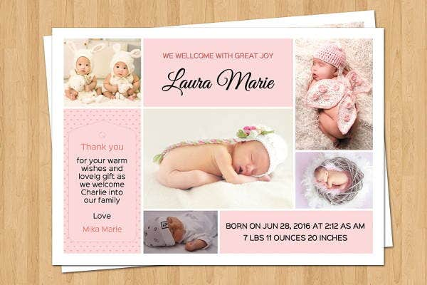 9 birth announcement templates printable psd ai format download free - Free Baby Announcement Templates