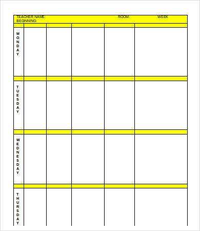 lesson plan form template word