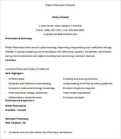 10 Pharmacist Resume Templates