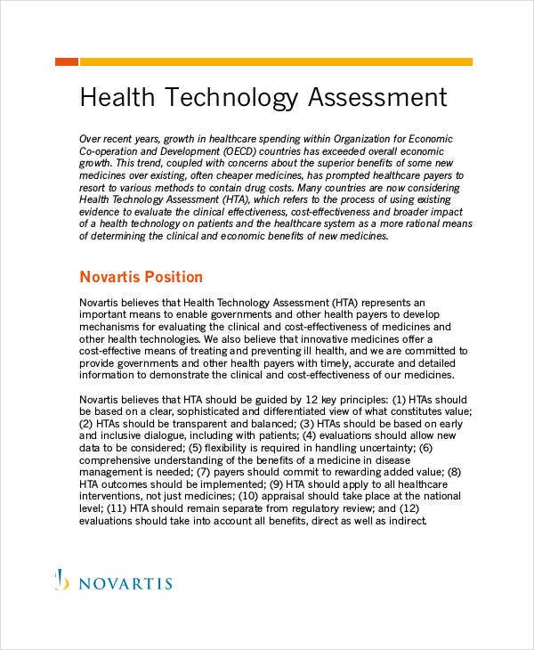 health technology assessment template