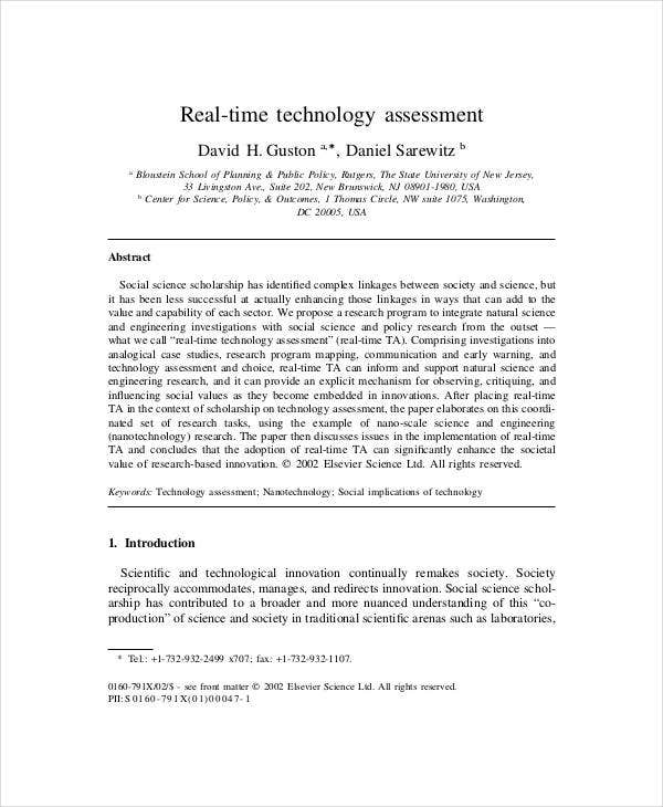 real time technology assessment template