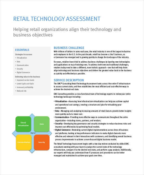retail technology assessment template