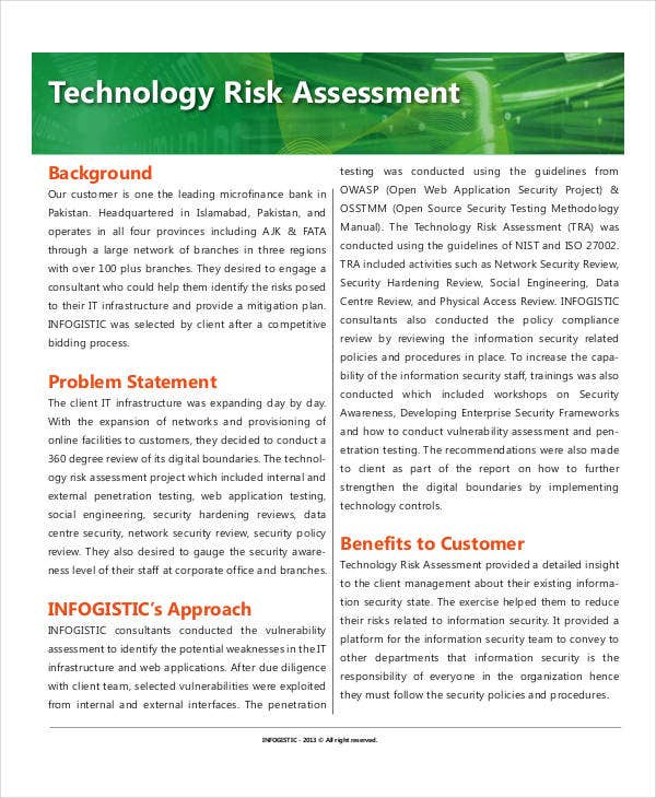 technology risk assessment template