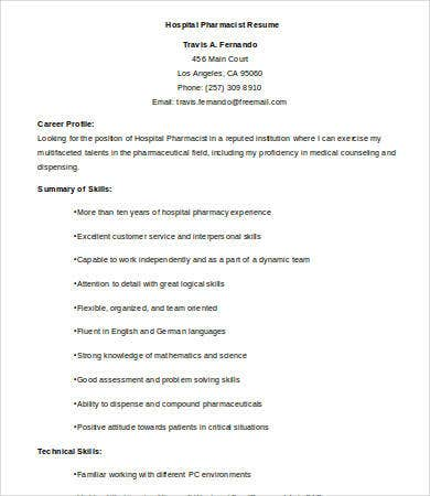 hospital pharmacist resume - Pharmacist Resume Template