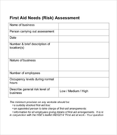 first aid needs assessment template