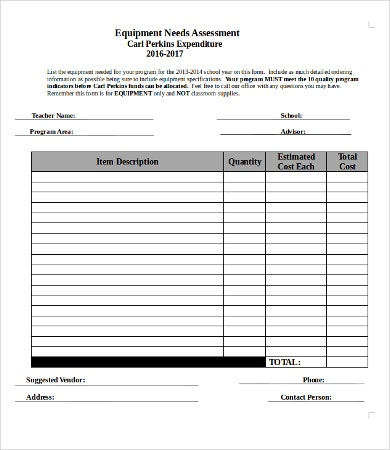 Sample Needs Assessment  Free Word Pdf Documents Download
