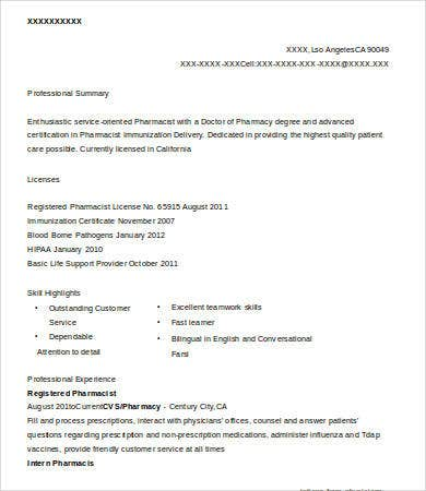 Registered Pharmacist Resume