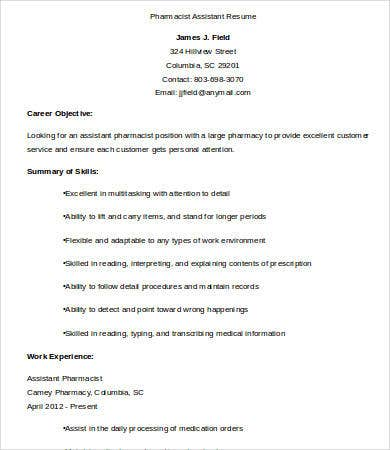 pharmacist assistant resume