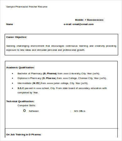Sample Pharmacist Fresher Resume