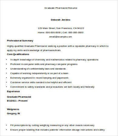 graduate pharmacist resume