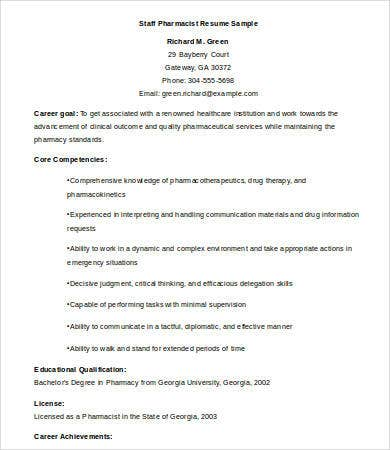 pharmacist resume 9 free word pdf documents