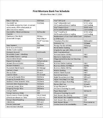 Bank Fee Schedule Template