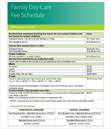 Family Day Care Fee Schedule Template
