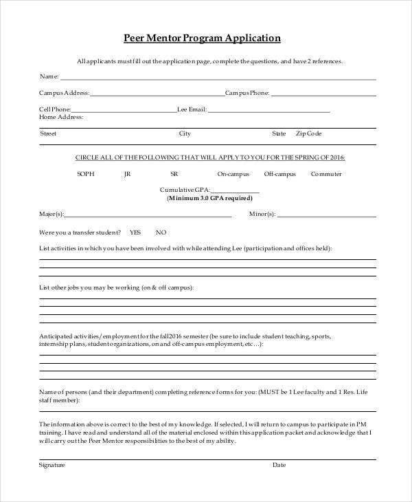 peer mentor application template1