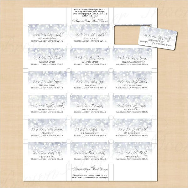 Address Label Template Word Printable