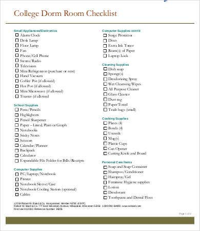 Dorm Room Checklist Templates - 7+ Free Word, Pdf Documents