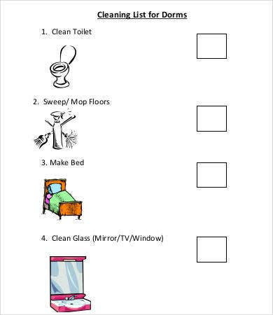 dorm room cleaning checklist template