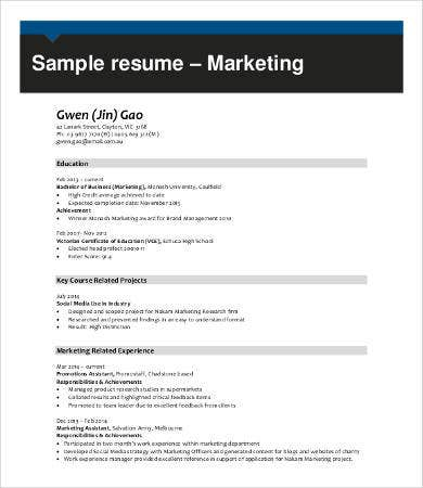 Marketing Professional Resume Sample