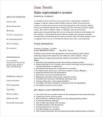 Sales Professional Resume Sample