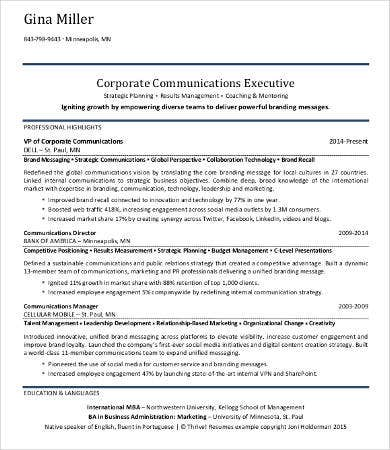 Attractive Corporate Communication Resumes  Corporate Communications Resume