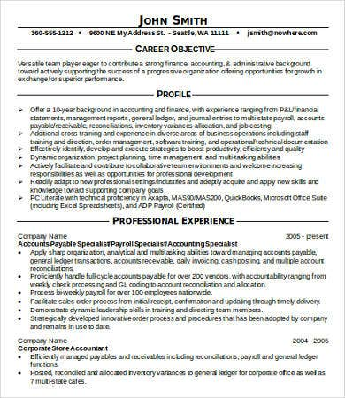accounting professional resume sample - Professional Accounting Resume Samples