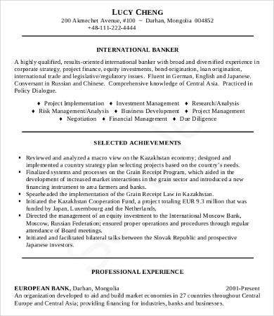 Banking Professional Resume Sample