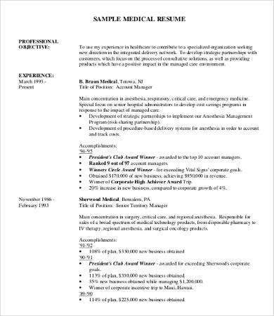 Medical Professional Resume Sample