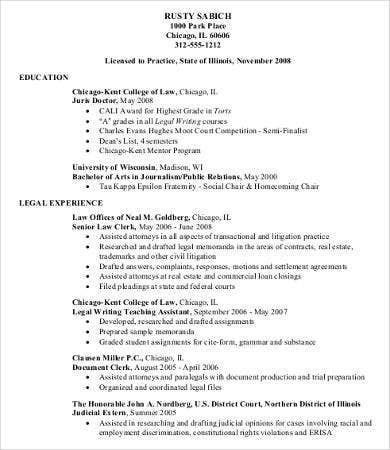 Legal Professional Resume Sample