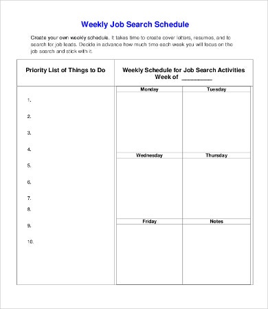 Weekly Job Schedule Template