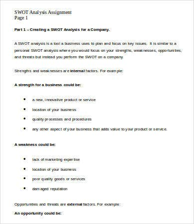 SWOT Analysis Assignment Template Word