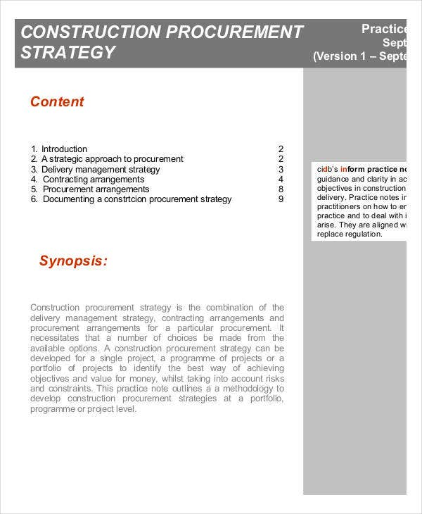 construction procurement strategy template1