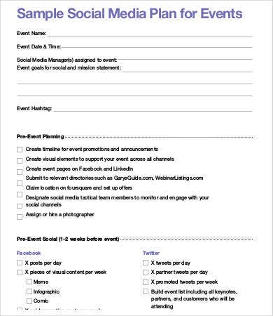 Social Media Plan Template Free Word PDF Documents Downlaod - Facebook media plan template