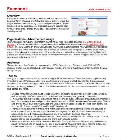 Social media plan template 8 free word pdf documents for Social media communication plan template