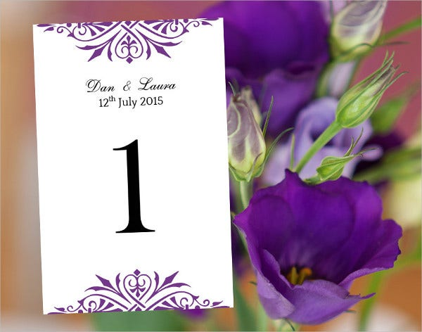 Table Number Template