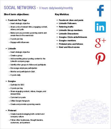 social media tactical plan template