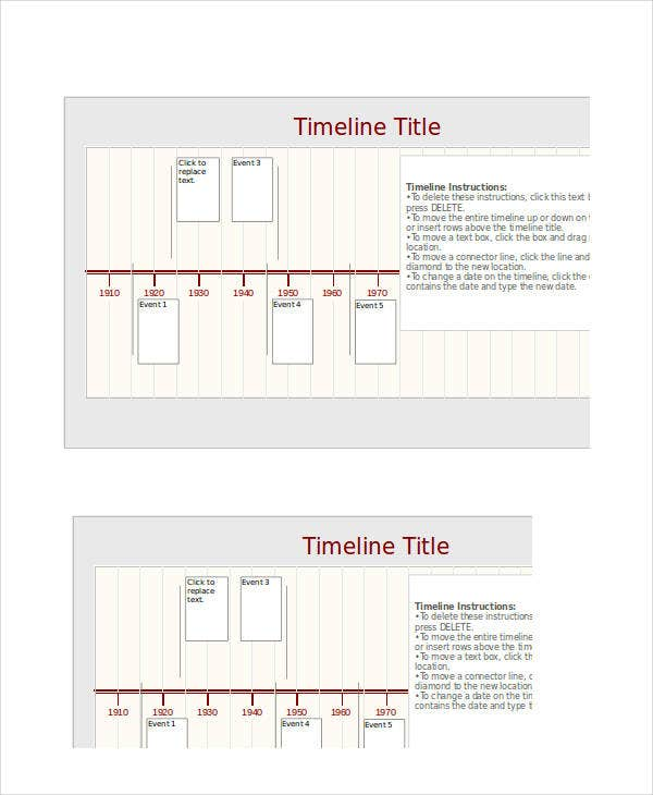 sample excel timeline template