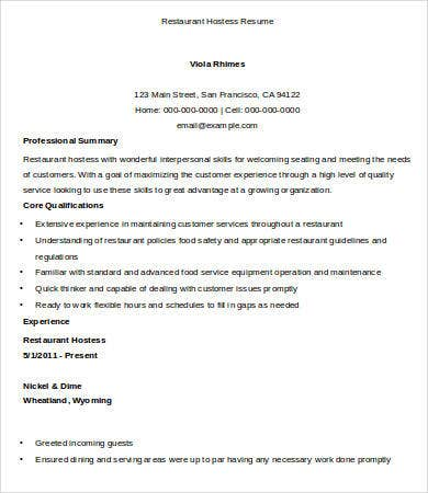 hostess resume template 9 free word pdf documents