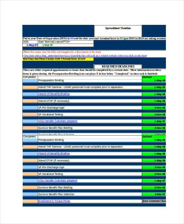 excel timeline template 6 free excel documents download