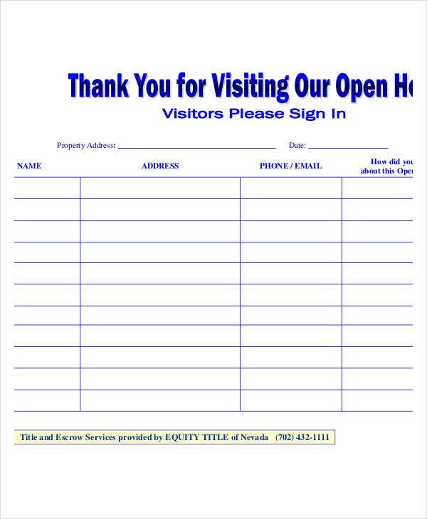 visitors open house sign in sheet template