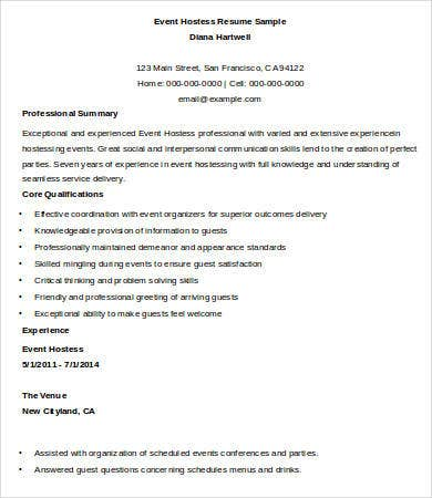 Hostess Resume Template 9 Free Word Pdf Documents Download