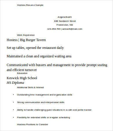 Basic Hostess Resume