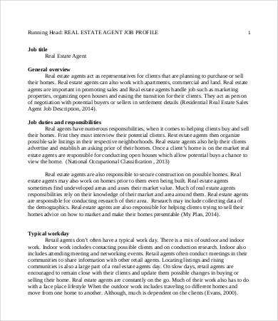 Real Estate Agent Job Description - 8+ Free Word, PDF Documents ...