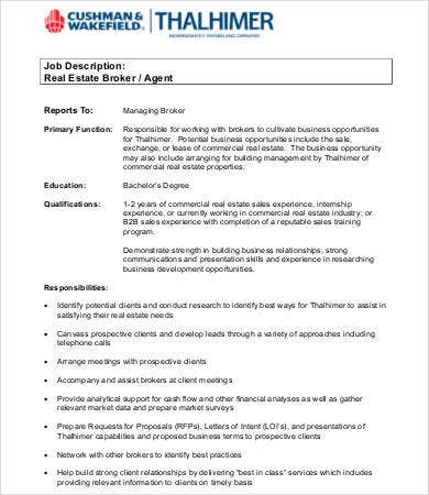 Real Estate Agent Job Description   Free Word Pdf Documents